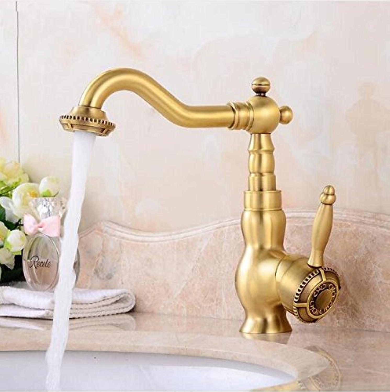 Makej Basin Faucets Carved Antique Brass Bathroom Faucet redate Basin Sink Faucet Deck Mount Single Handle Mixer Taps