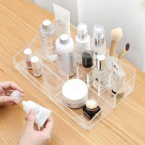 Sooyee Clear Acrylic Makeup Organizer Tray, 9 Spaces Cosmetic Display Case Storage Box for Lipstick,Makeup Brushes and Skin Care Products.