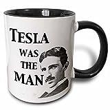 3dRose Tesla Was The Man Mug, 11 oz, Black