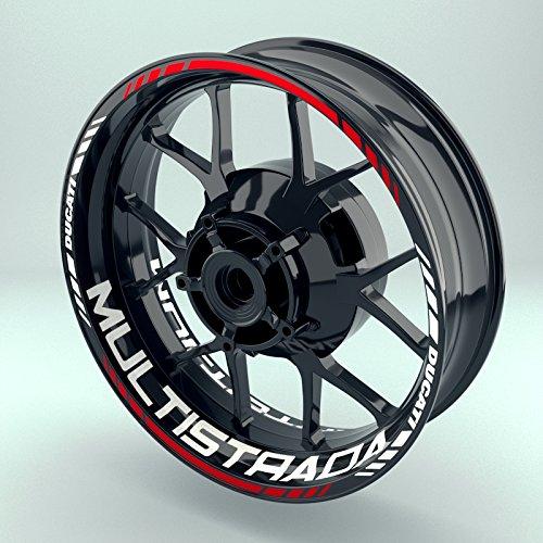 Felgenaufkleber Set Ducati Multistrada für Motorrad | 17 Zoll | Felgenrandaufkleber & Felgenbettaufkleber | Vorder- & Hinterreifen Komplett-Set (Einfach - glänzend)