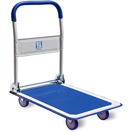 Push Cart Dolly By Wellmax Moving Platform Hand Truck Foldable For Easy Storage And 360 Degree Swivel Wheels With 330lb Weight Capacity Blue Color Home Improvement