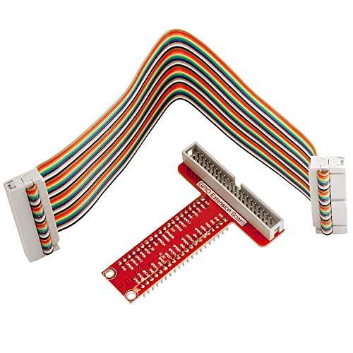 AZDelivery 40 Pins GPIO Breakout Board und kompatibles Flachband Ribbon Kabel kompatibel mit Raspberry Pi