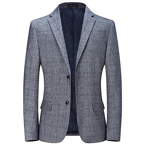 LEYU Blazer Casual da Uomo Blazer Business Slim Blazer Leggero A Due Bottoni Blu Grigio