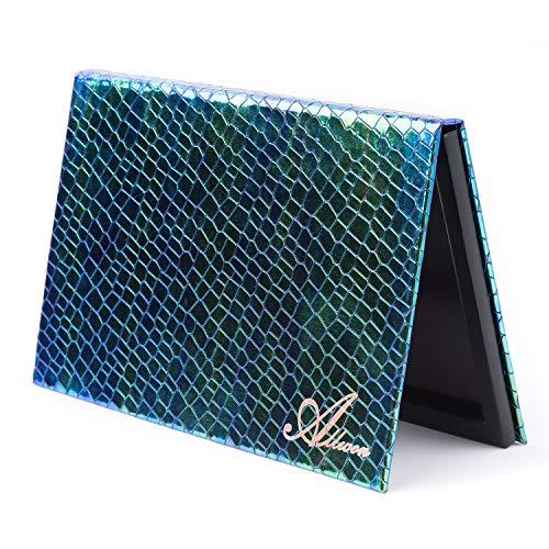 Allwon Magnetic Palette Meerjungfrau Leere Make-up-Palette mit Spiegel und 30 Stück Kleber Leere Palette Metallaufkleber für Lidschatten Lippenstift Rouge Puder (Grün)