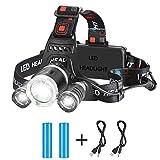 HooAMI Stirnlampe LED Wasserdicht USB Wiederaufladbare Kopflampe mit 4 Lichtmodi