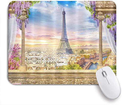 Benutzerdefiniertes Büro Mauspad,Paris Eiffelturm Schöne Straßenlandschaft von der Terrasse mit Blumen Romantische Stadtlandschaft,Anti-slip Rubber Base Gaming Mouse Pad Mat