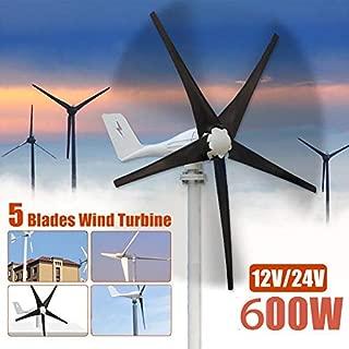 WG Wind Turbines Generator,600W 12 V 24 Volt 5 Nylon Fiber Blades Horizontal Wind Turbines Generator Power Windmill Energy Charger Kit