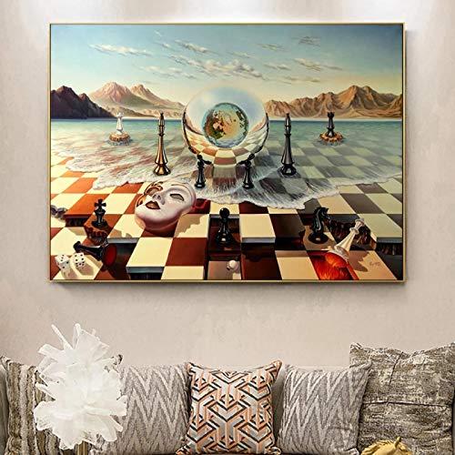 Máscara de ajedrez surrealista de Salvador Dalí en el mar,cuadros impresos en lienzo Giclee, carteles de pared abstractos, cuadros, decoración para sala de estar, 40 x 75 cm (16'x 29') sin marco
