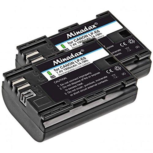 Minadax - Batería de repuesto para LP-E6 LPE6 (2 unidades, 1900 mAh, compatible con Canon 80d, 70D, 60D, 60Da, 7D, 7D Mark II, 6D, 5D Mark III, 5D Mark II)