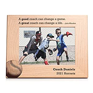 """PERSONALIZED: Click """"customize now"""" to add your personalized bottom lines to the baseball design LASER ENGRAVED: Design will not fade or peel over time SIZE: Holds a 5 inch x 7 inch photo; measures 7.5 inches x 9.5 inches overall MATERIAL: Genuine al..."""
