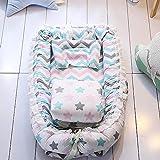 TEALP Tumbona para bebé, Nido de bebé, Nido Transpirable para recién Nacido, Edredón de bebé con algodón orgánico Supersoft, estrella colorida y onda