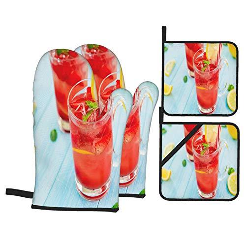 Juego de 4 Guantes y Porta ollas para Horno Resistentes al Calor Coloridas Bebidas Refrescantes Verano Frío Dulce para Hornear en la Cocina,microondas,Barbacoa