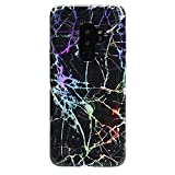 Holographic Black Marble Galaxy S9 Plus Case - Cute Premium Protective Phone Cases for Girls Women [Drop Test Certified Cover for Samsung Galaxy S9 Plus]