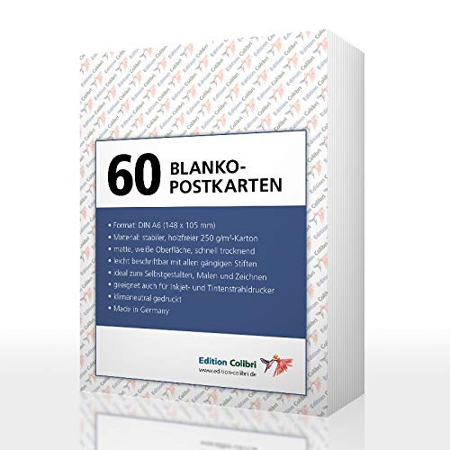 60 BLANKO-POSTKARTEN (weiss) im DIN A 6-Format: Postkarten-Set mit 60 Blanko-Karten zum Selbstgestalten, für Drucker geeignet