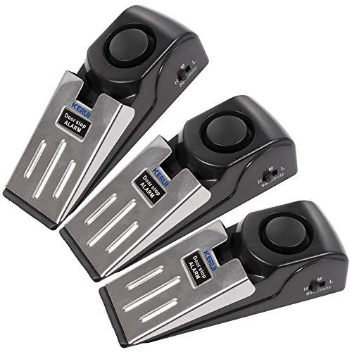 KERUI Alarmkeil mit 120 dB Alarm für Türen, rutschfeste Unterseite Mechanischer Einbruchschutz Türkeil Türstopper mit Türstopper Alarmfunktion Türalarm 3 Pack