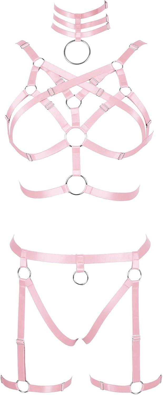 Garter belt set Full body harness for women Punk Gothic Plus size Bra Festival Rave Halloween Lingerie cage Chest strap
