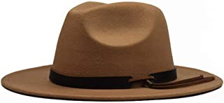 SHENTIANWEI Men Women Fedora Hat with Leather Belt Wide Brim Hat Winter Outdoor Casual Hat Size 56-59CM