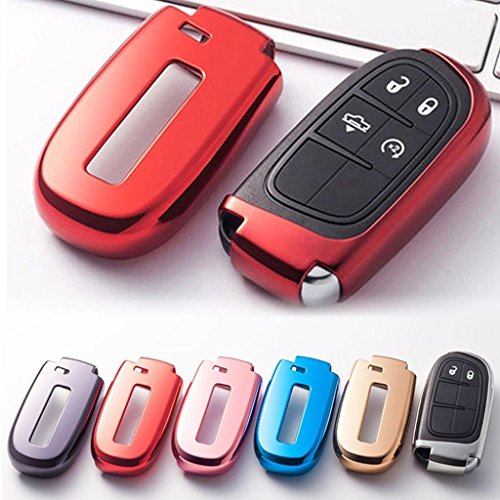 Xotic Tech Red Soft TPU Remote Smart Key Fob Cover Case Compatible with Chrysler 200 300 or Dodge Charger Challenger Dart Durango Journey or Jeep Grand Cherokee Renegade, etc