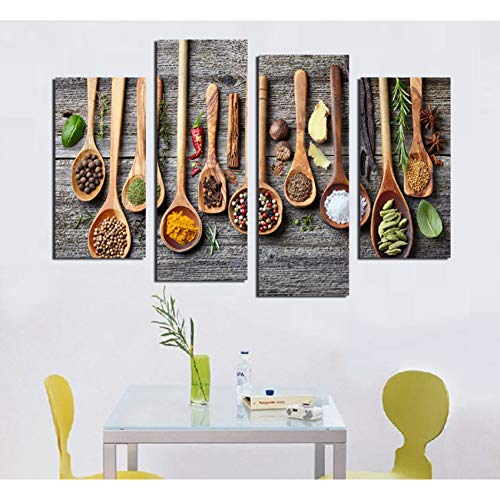 UDPBH 4 Panel Ölgemälde Geschirr Wandbilder Für Restaurant Oder Wohnzimmer Heiße Cuadros Dekoration Ungerahmt e Bilder
