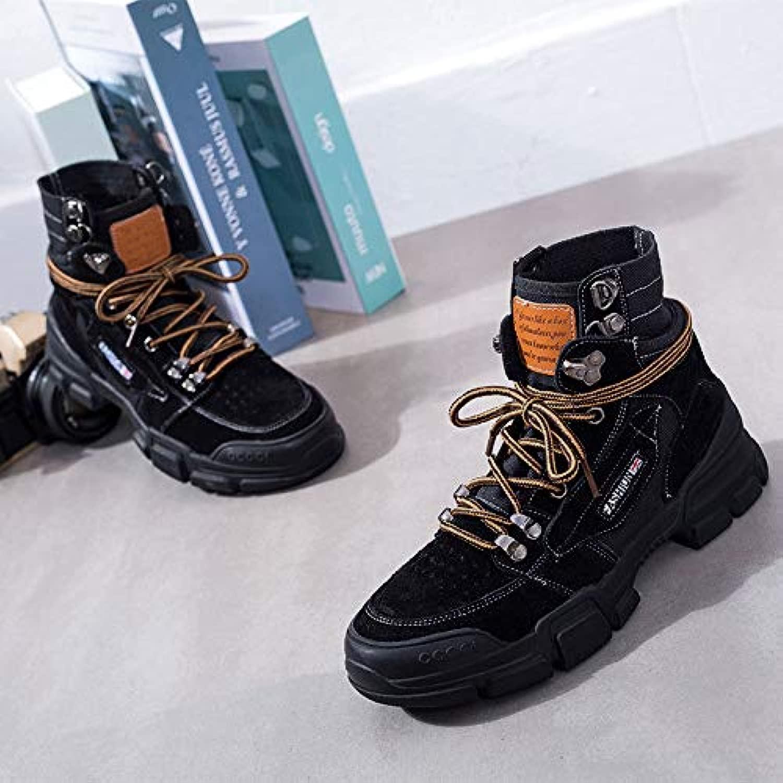 HOESCZS HOESCZS Damenschuhe Martin Stiefel Damen Stiefel Herbst Und Winter Leder Outdoor Tooling Stiefel Student Casual High Top Schuhe  Online-Outlet-Verkauf