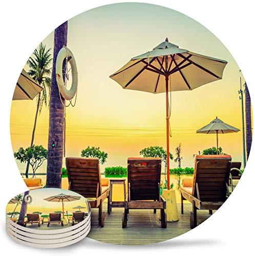 Beach Seaside Scene Island Twilight Sonnenuntergang Sonnenuntergang Rettungsring Retro-Stil Runde Getränke Saugfähige Keramik Untersetzer 4er-Set, Keramik Untersetzer mit Rutschfester Korkbasis, Einw