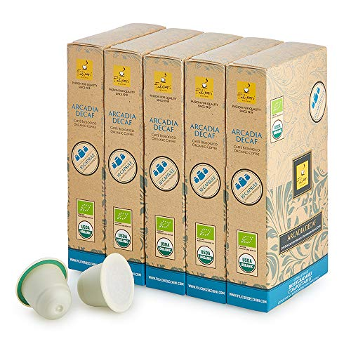 Filicori Zecchini ARCADIA BIO DECAF Caffè in Capsule Biodegradabili Compostabili - Miscela di Caffè Biologico Decaffeinato - 50 Capsule Compatibili con Macchine ad uso domestico Nespresso
