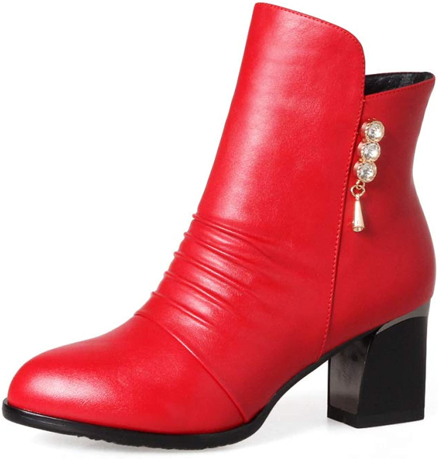 Women Leather Martin Boots 2018 Winter Fashion High Heel Ankle Boots Size 33-43 Short Boots,Red,34