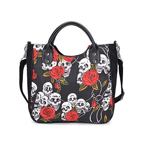 Women Skull Print Tote Bag Gothic Handbag Fashion Shoulder Crossbody Bag Ladies Canvas Messenger Bag, Black-Rose