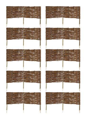 MC.Sammler 10 x Beeteinfassung aus Weide 16 Größen Weidenzaun Rasenkante Beetbegrenzung Steckzaun imprägniert mit Buchepflöcken für leichtes Einsetzen Länge: 100 cm Höhe: 30 cm