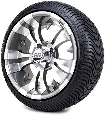 14' MODZ Vampire Gunmetal Golf Cart Wheels and Low Profile Tires Combo Set of 4