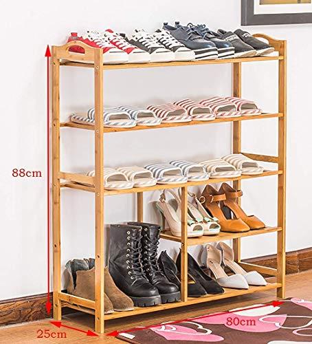 LHQ-HQ - Estante pequeño para zapatos de madera, 5 pisos, puerta de entrada de entrada, dormitorio, estantería de almacenamiento, marco de bambú autoportante