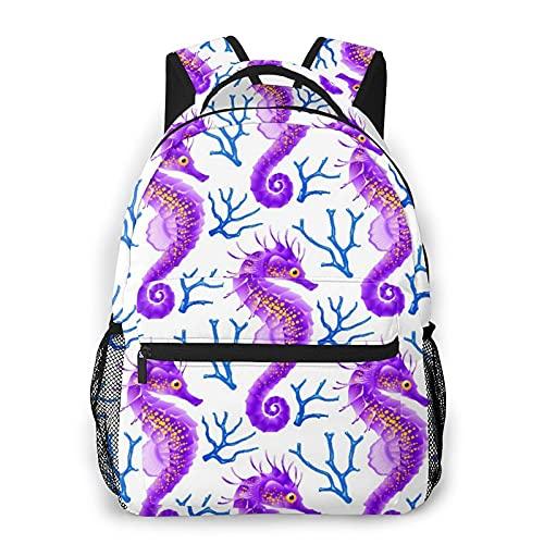 USOPHIA Casual Rucksack,Fisch Blue Beach Whith Seepferdchen Lila,Business Daypack Schultasche für Männer Frauen Teen Women 16