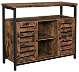 VASAGLE Storage Sideboard, Buffet Table, Kitchen Cabinet, Freestanding Console Table with Cupboard, Shelves, Louvered Doors, for Dining Room Living Room Entry Bedroom, Rustic Brown and Black ULSC79BX