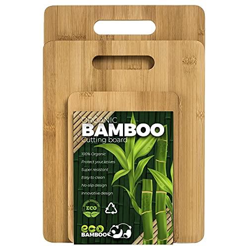 Pack - Tabla De Cortar Cocina- Juego de 3 Piezas en Madera de Bambú Para Picar - Tabla cortar de cocina de madera - Tabla de cortar antibacteriana de madera
