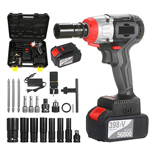 pedkit Cordless Impact Wrench Kit Brushless Drill 1/2 & 1/4 Inch Quick Chuck 980Nm Torque Fast Charger 2x4.0A Battery Variable Speed Multifunction Impact Kit with 18 Accessories and Carrying Box