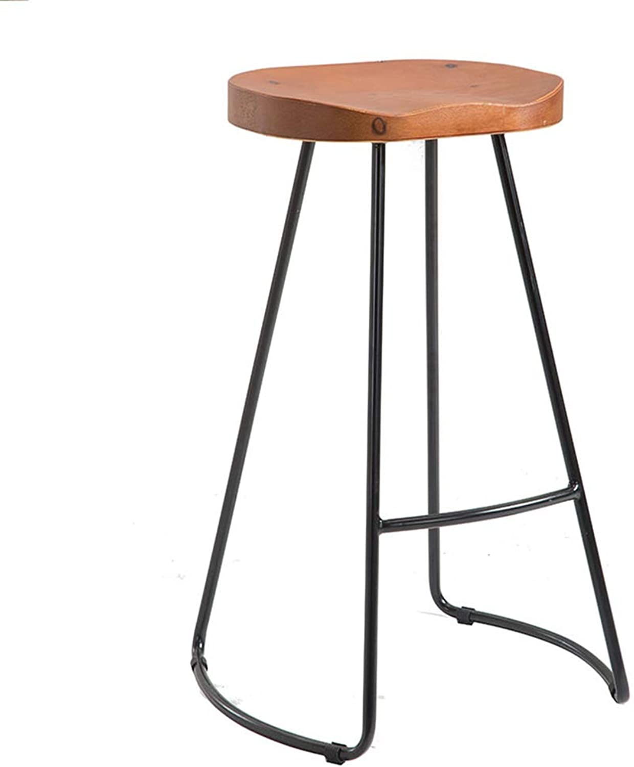 LJFYXZ Bar Stool Simple Solid Wood Cushion Iron Bracket Can Rest on The feet Durable 75cm high Wood color