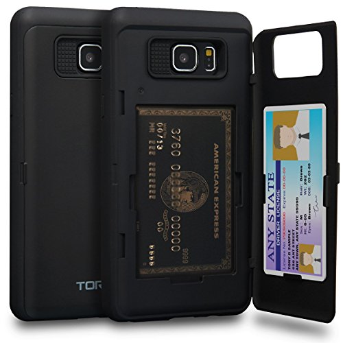 TORU CX PRO Compatible with Samsung Galaxy Note 5 Case - Protective Dual Layer Wallet with Hidden Card Holder + ID Card Slot Hard Cover & Mirror - Matte Black
