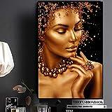 T-YIFUZX DIY Pintar por números Sin Marco Arte Africano Desnudo Mujer Negra y Dorada sobre Cuadros y Pintura 40x50cm