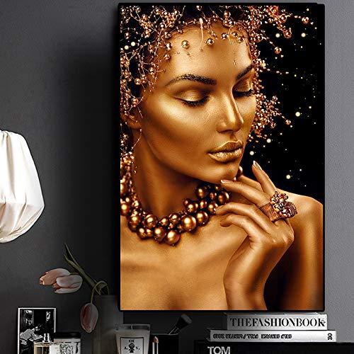 Puzzle 1000 piezas Arte africano desnudo Regalos de arte de mujer negra y dorada puzzle 1000 piezas paisajes Rompecabezas de juguete de descompresión intelectual Gran ocio vac50x75cm(20x30inch)