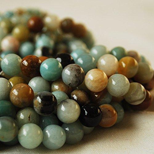 Amazonite naturelle, pierre semi-précieuse de haute qualité, Grade A, perles rondes, chaîne 40,6 cm, tailles 4, 6, 8, 10 mm, multicolore, 8mm (47 - 50 beads)