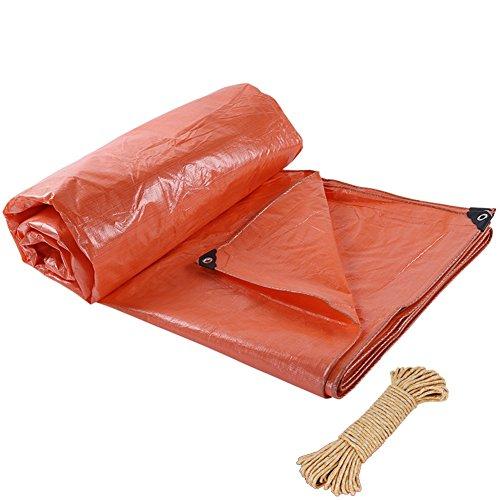 ZEMIN Bâche Protection Couverture Transparente Imperméable Crème Solaire Tente Drap Toit Étanche Polyester, Orange, 220G/M², 6 Tailles (Color : Orange, Size : 9X12M)