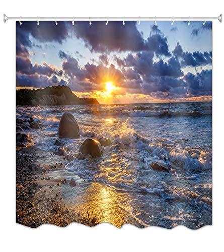A.Monamour Cortinas de Ducha Océano Mar Playa Puesta Del Sol Oscuro Cielo...