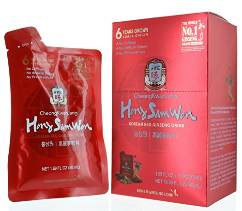 Cheong Kwanjang by Korean Red Ginseng Hong Sam Won Korean Red Ginseng Drink (10-1.69 FL oz Pouches/Net WT. 16.9 FL oz (0.5 L))