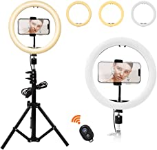 """Letyet 10"""" Selfie Ring Light with Tripod Stand and Phone Holder,for Live Stream/Makeup, 3-Mode 10-Level Dimmable Camera Ring Light for YouTube Video and TikTok, Compatible with iPhone and Android"""