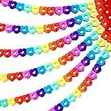 Outus 6 Piezas 60 Pies Guirnalda de Corazones de Arcoiris Coloridos Guirnalda de Papel de Fiesta Decoraciones Colgantes en Forma de Corazón para Cumpleaños Boda