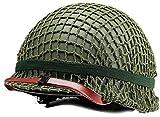 Lejie WW2 US M1 Acero Casco Field con Cubierta Neta (Green)