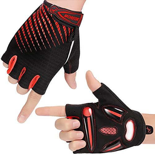 Herren Fahrradhandschuhe Damen Halbfinger Handschuhe Unisex Atmungsaktiv SBR Gel Radsporthandschuhe Rutschfestes Stoßdämpfende Radhandschuhe für Rennrad, MTB, Radfahren(Rot M)
