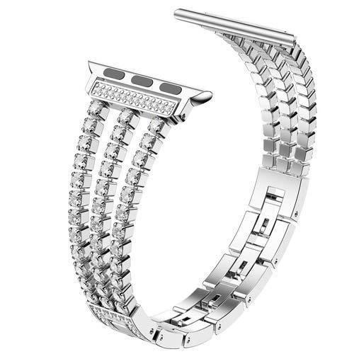 Correa de acero inoxidable para pulsera AppleW de 6 bandas de 4 mm, 40 mm y 40 mm para niñas y mujeres, correa de reloj iWatch Series 6, 5, 4, 3, 42 mm, 38 mm (color: plata, tamaño: 38 mm o 40 mm)