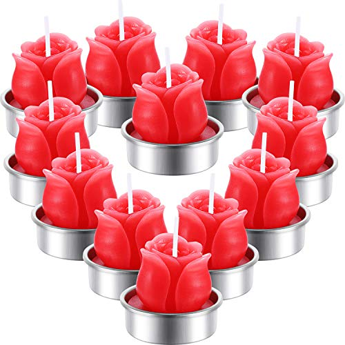 TecUnite 12 Pieces Rose Tealight Candles Handmade Delicate Rose Flower Candles for Valentine's Day Party Wedding Spa Home Decoration Gifts (Style E)