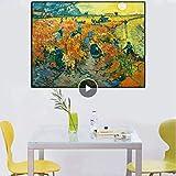LYHNB Impresión de Lienzo 60X90CM sin Marco Viñedos Rojos clásicos de Van Gogh Paisaje Famoso Cuadro de Arte de Pared al óleo para decoración del hogar